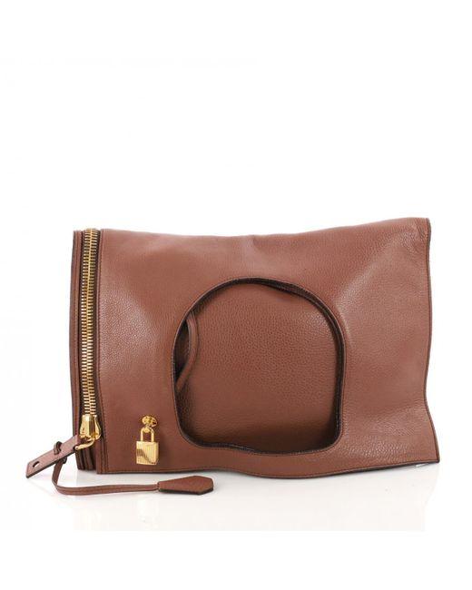 Tom Ford - Brown Leather Clutch Bag - Lyst