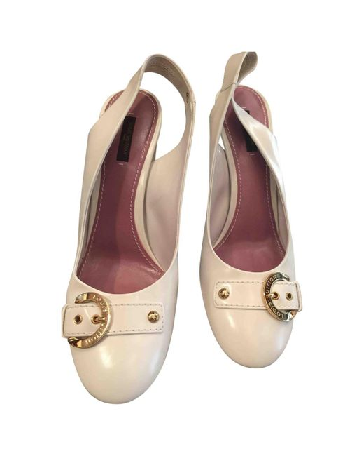 f6fa7b1c3006 Louis Vuitton Pre-owned White Leather Heels in White - Lyst