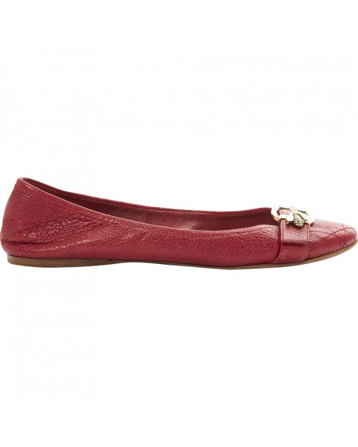 02630121795 Dior Red Leather Ballet Flats in Red - Lyst