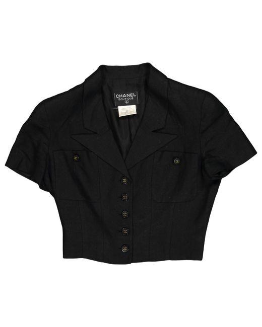 Chanel - Vintage Black Linen Jacket - Lyst