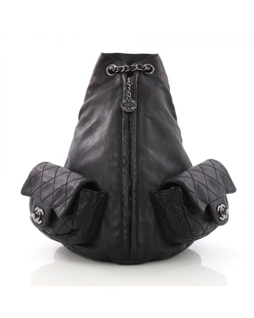 Chanel Pre-owned Black Leather Backpacks in Black - Lyst 7e963f6d42ffc