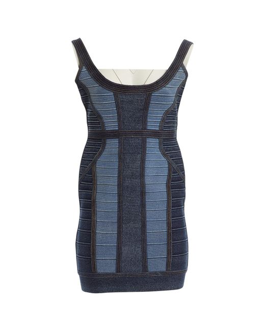 Hervé Léger - Blue Cotton Dress - Lyst