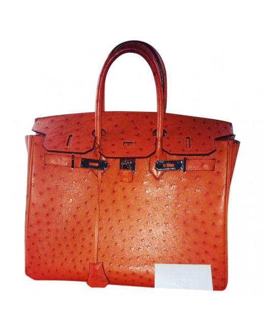 f44875fa5142 Hermès Birkin Ostrich Handbag in Orange - Lyst
