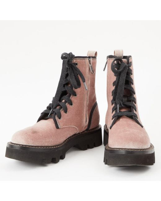 d67fdc7ba21 Lyst - Brunello Cucinelli Pink Velvet Boots in Pink - Save 44%