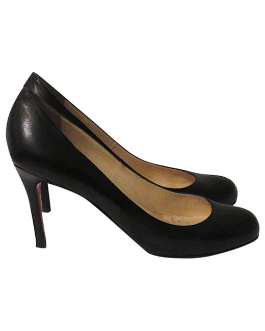 Christian Louboutin | Black Simple Pump Leather Heels | Lyst