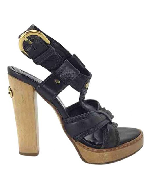Chloé - Black Pre-owned Leather Sandals - Lyst