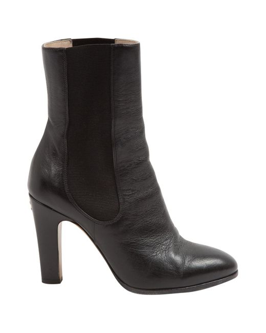 Chanel - Black Leather Ankle Boot - Lyst
