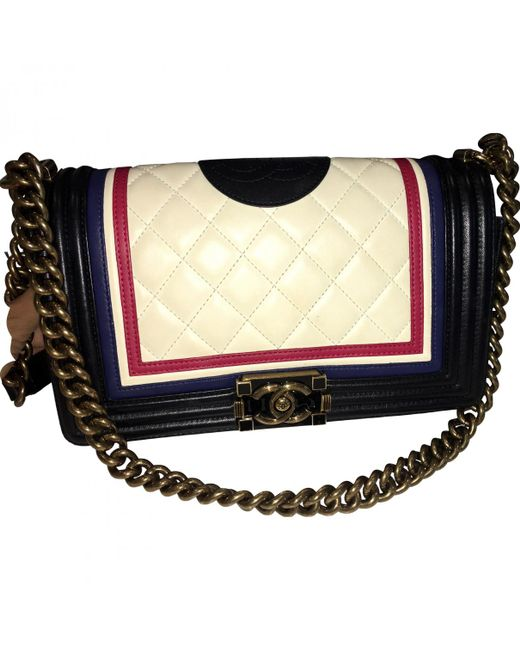 Chanel - White Boy Leather Handbag - Lyst
