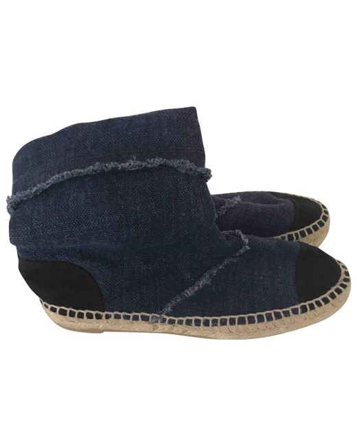 Chanel | Blue Cloth Ankle Boots | Lyst