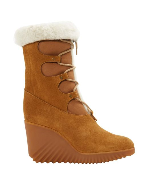 Chloé - Brown Leather Snow Boots - Lyst