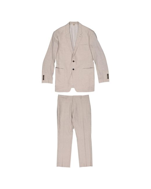 Burberry - Natural Pre-owned Beige Linen Suits for Men - Lyst