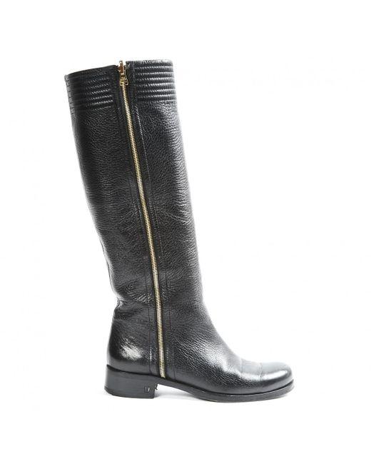 6ed1cca95692 ... Louis Vuitton - Black Leather Boots - Lyst ...
