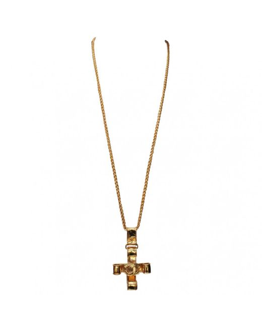 Chanel - Metallic Pre-owned Vintage Gold Metal Necklace - Lyst