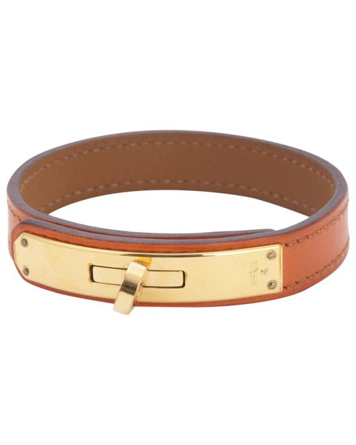 Hermès - Kelly Double Tour Orange Leather Bracelets - Lyst
