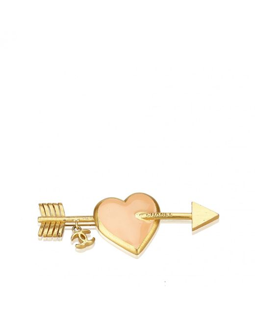 Chanel - Metallic Pre-owned Vintage Gold Metal Pins & Brooches - Lyst