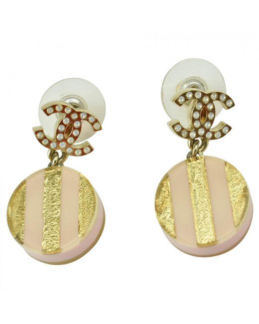 Chanel - Metallic Multicolour Plastic Earrings - Lyst