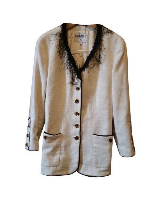 Chanel - Multicolor Pre-owned Vintage Ecru Cotton Jackets - Lyst