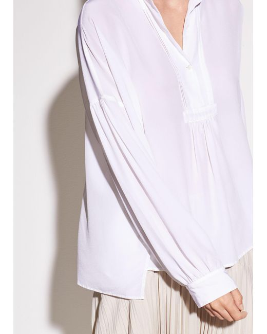 Vince - White Shirred Silk Blouse - Lyst