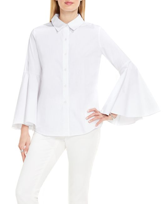 Vince camuto bell sleeve shirt in white save 71 lyst for Bell bottom sleeve shirt