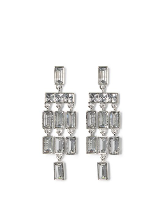 Vince Camuto | Metallic Silvertone Jeweled Chandelier Earrings | Lyst