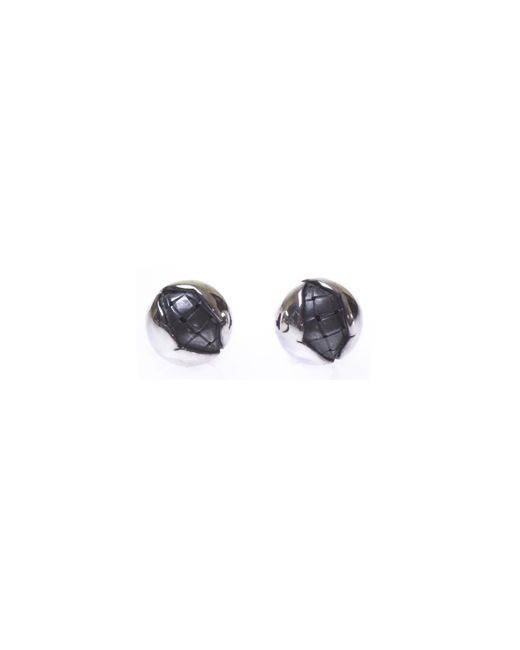 Bottega Veneta - Metallic Round Silver Earrings - Lyst