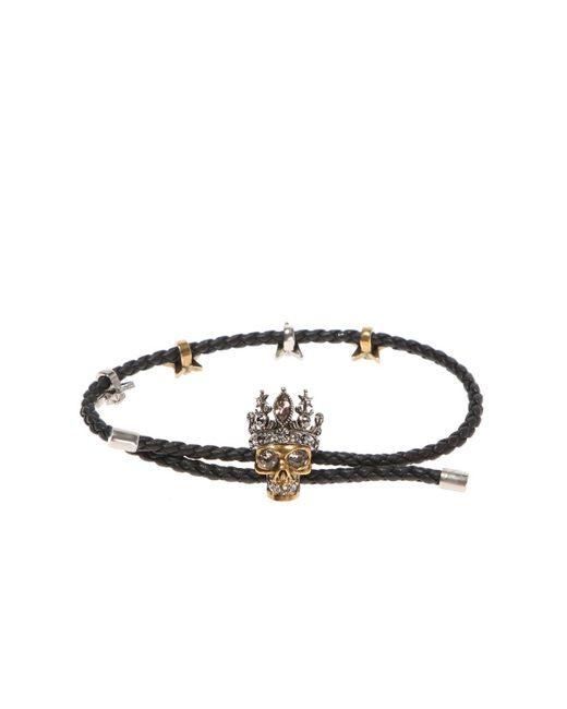 Alexander McQueen - Black Bracelet With Skull - Lyst