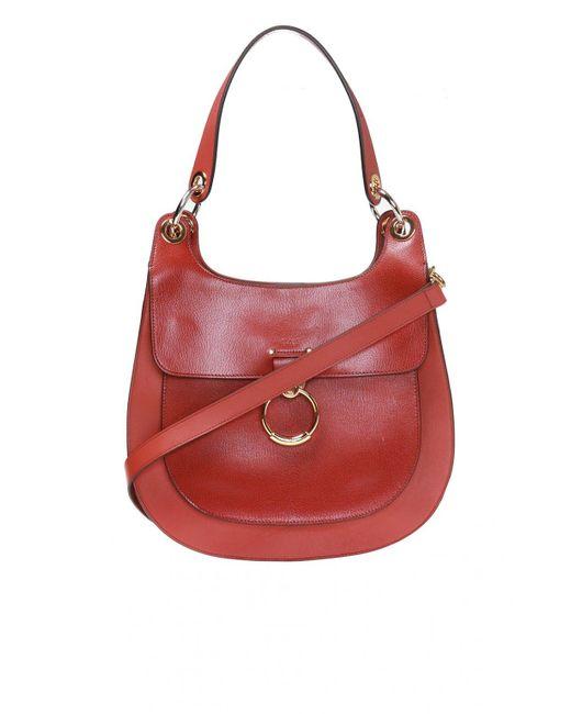 Chloé Red 'tess' Logo-embossed Shoulder Bag