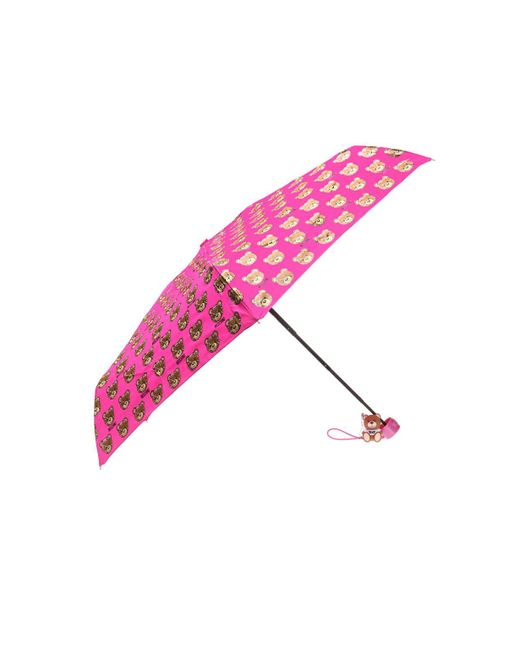Moschino - Pink Patterned Umbrella With Teddy Bear - Lyst