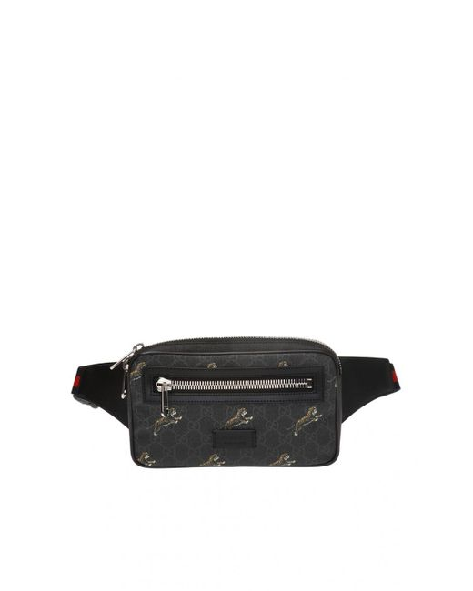 7a127bc64 Gucci - Black 'GG Supreme' Canvas Belt Bag for Men - Lyst ...