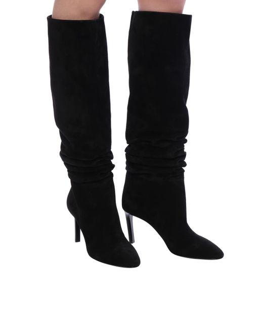 44bcd19264a ... Lyst Saint Laurent - Black  mica  Heeled Boots ...