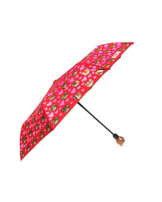 Moschino - Red Patterned Umbrella With Teddy Bear - Lyst