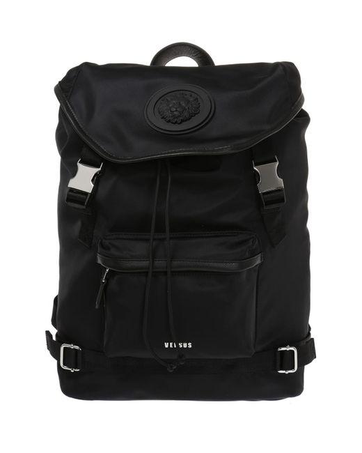 Versus  - Black Rubber Logo Backpack for Men - Lyst