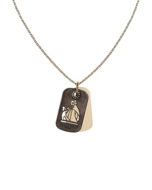 Lanvin - Metallic Dog Tag Necklace - Lyst