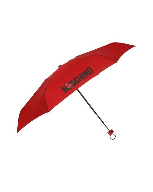 Moschino - Red Printed Folding Umbrella - Lyst