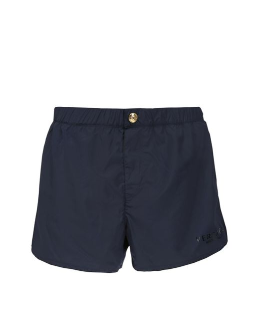 Versace - Blue Printed Swim Shorts for Men - Lyst