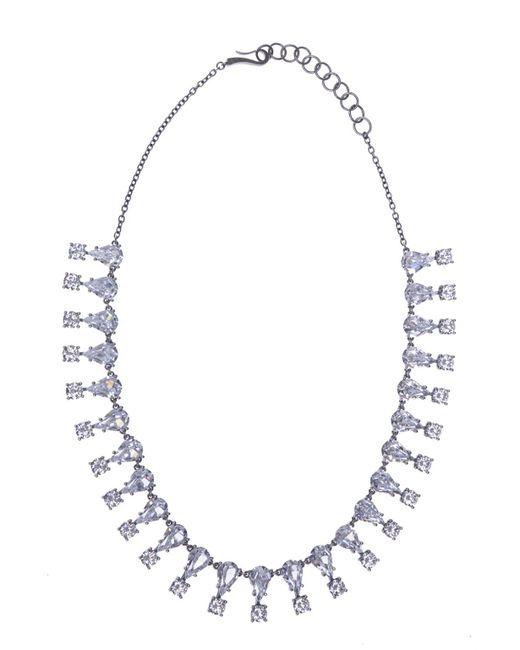 Bottega Veneta - Metallic Silver Necklace With Zirconias - Lyst