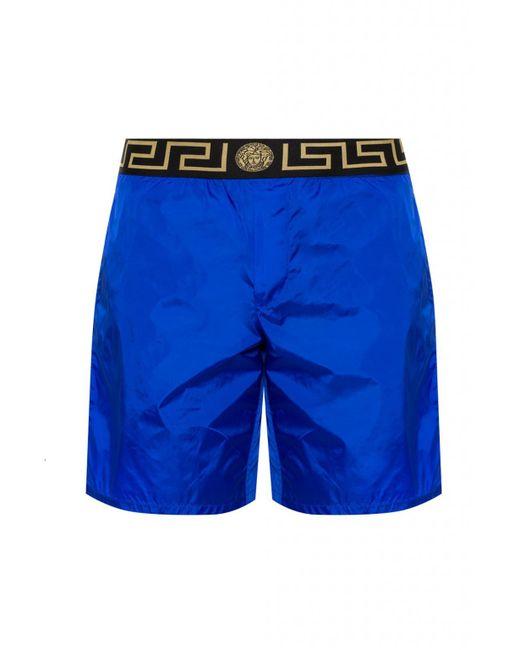 Versace - Blue Greek Key Pattern Swim Shorts for Men - Lyst
