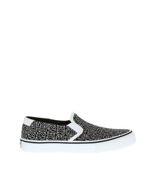 KENZO - Black Printed Slip-on Sneakers for Men - Lyst
