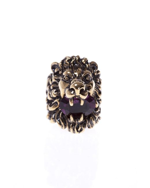 Gucci - Metallic Lion's Head-shaped Ring - Lyst