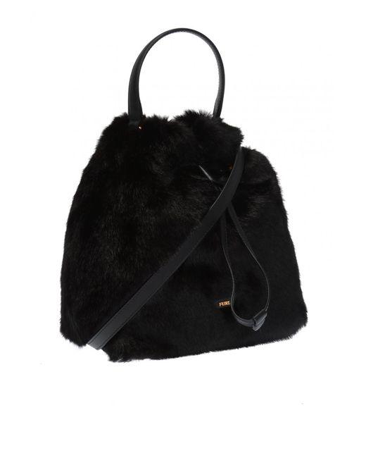 ... Lyst Furla - Black  stacy Nuvola  Fur Shoulder Bag ... 39731cf3e3e90