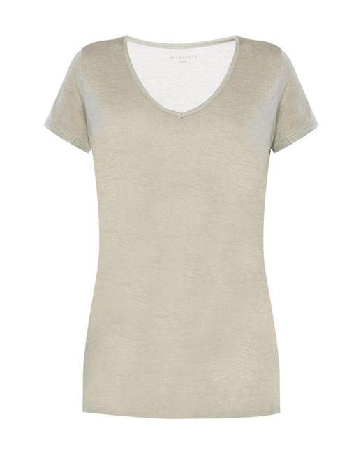 AllSaints - Gray 'malin' V-neck T-shirt - Lyst