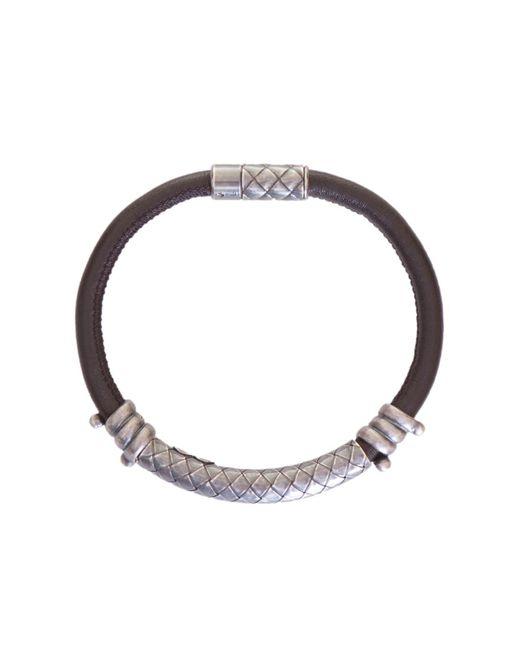 Bottega Veneta - Metallic Silver Detail Leather Bracelet for Men - Lyst