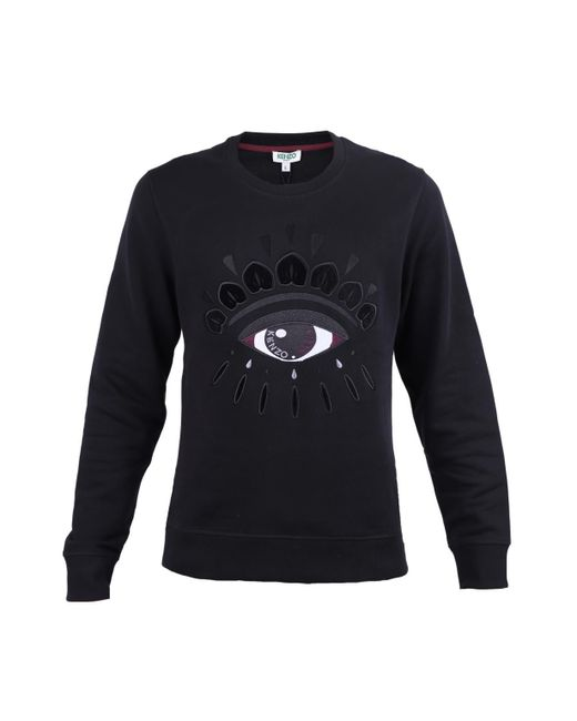 f00f87c7 KENZO - Black Cotton Sweatshirt With Eye for Men - Lyst ...