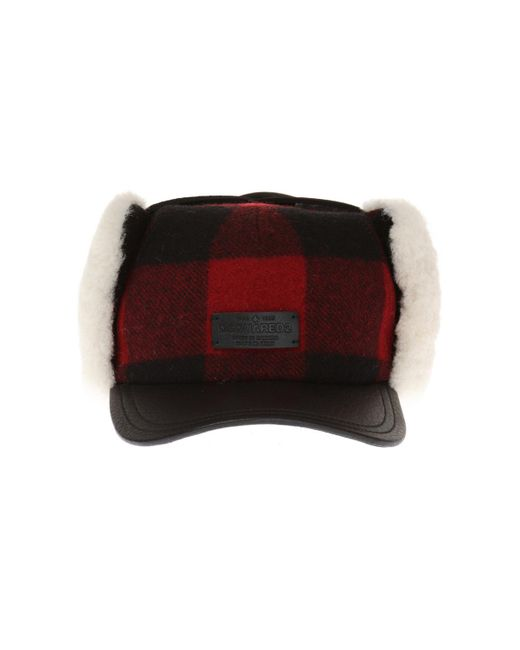 DSquared² - Red Checked Earflap Hat for Men - Lyst