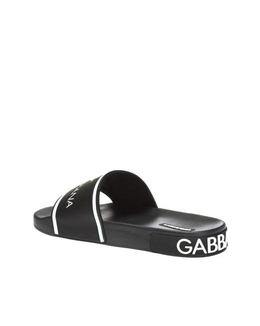c15c64cd156f Lyst - Dolce   Gabbana Logo-printed Slides in Black for Men - Save 21%