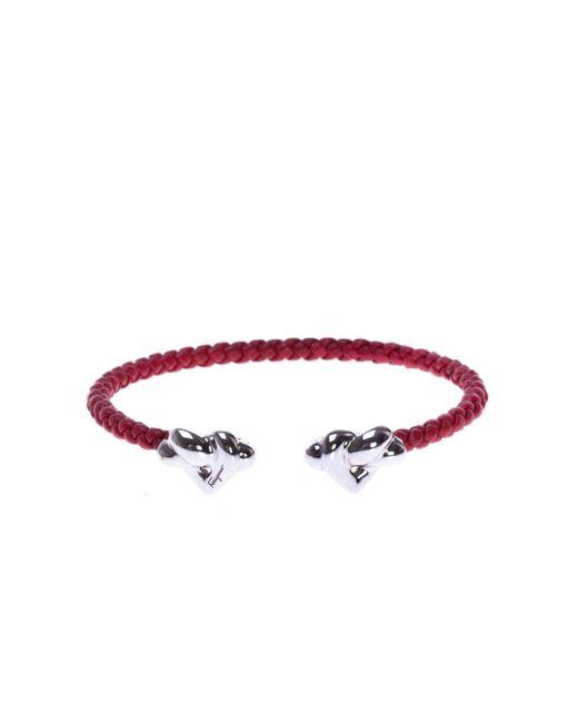 Ferragamo - Red Leather Braided Bracelet - Lyst