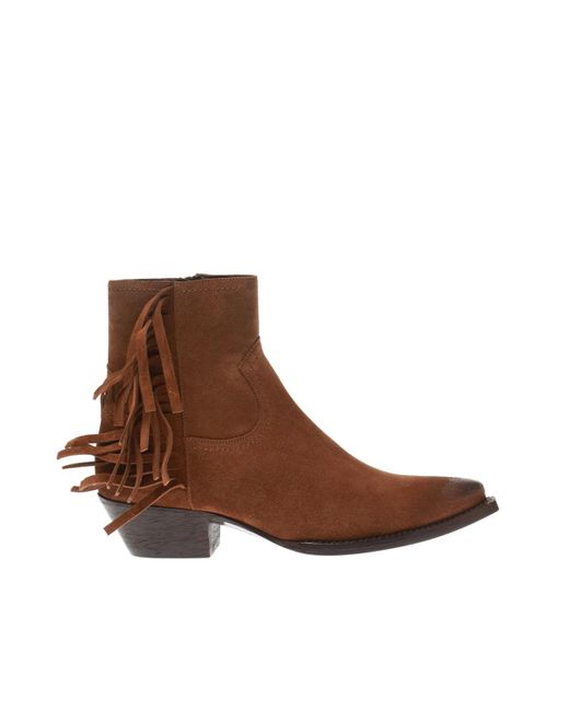 Saint Laurent Brown 'lukas' Heeled Ankle Boots