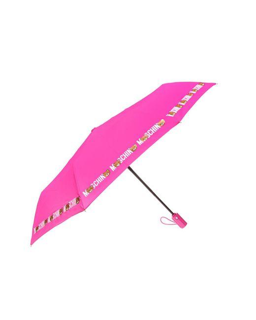 Moschino - Pink Branded Folding Umbrella - Lyst