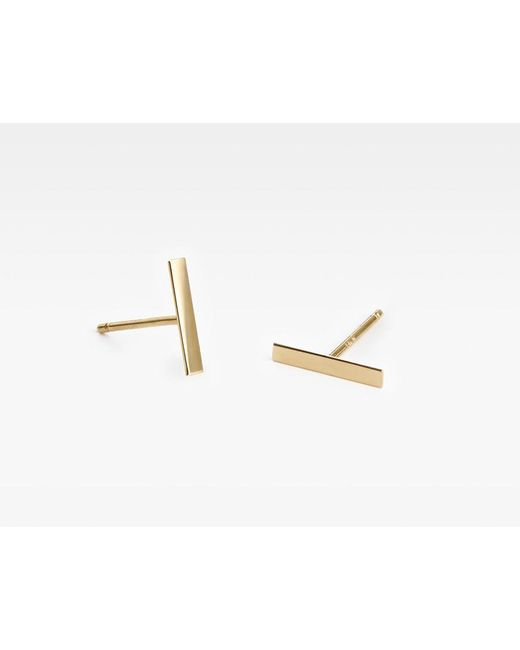 Vrai & Oro | Metallic Line Stud Earrings | Lyst