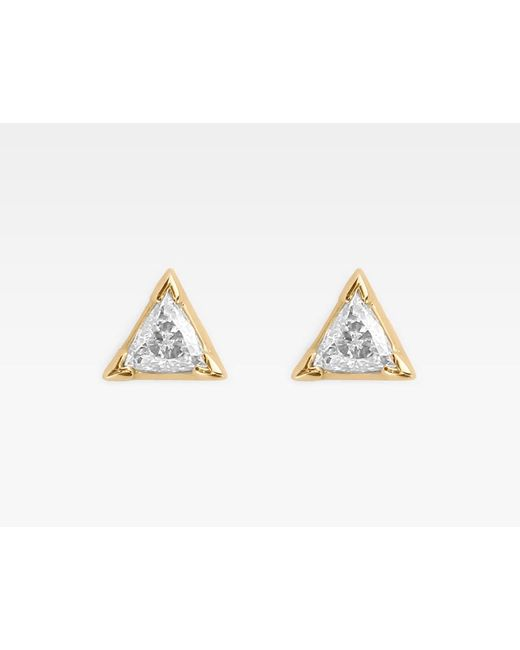 Vrai & Oro | Metallic Trillion Diamond Earrings | Lyst